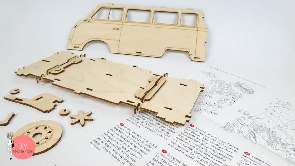 Anleitung Explosionszeichnung 3D Holzbausatz VW Bus