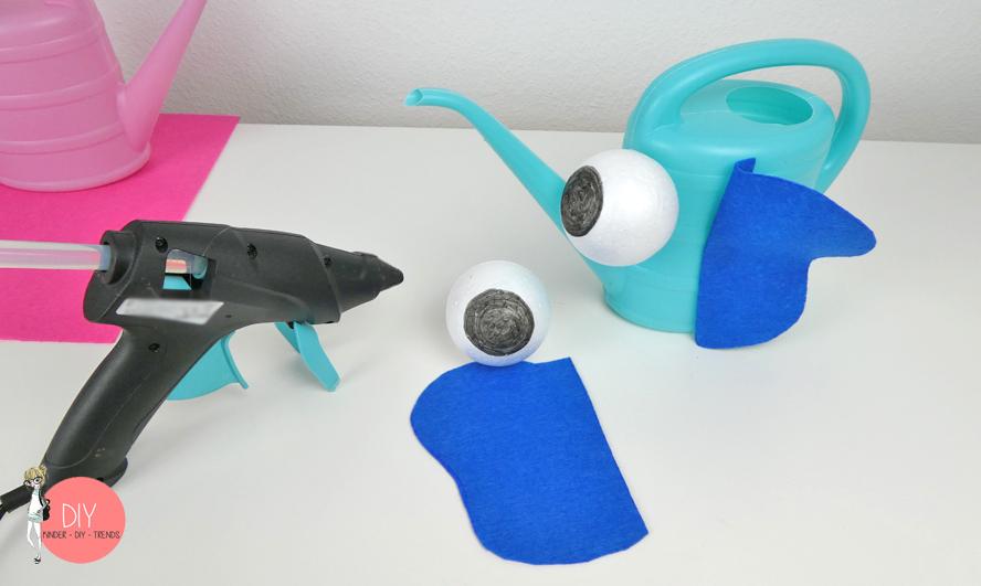 DIY Elefant Gießkanne mit Styroporaugen - Bastelidee für Kinder
