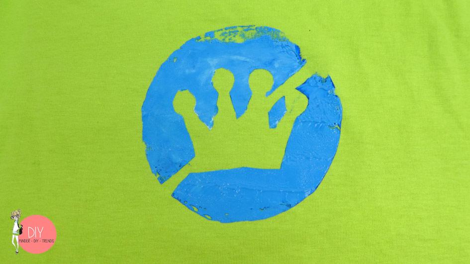 Siebdruck Schablone - Textilfarbe Prinzessin Krone mit Gratis Vorlage