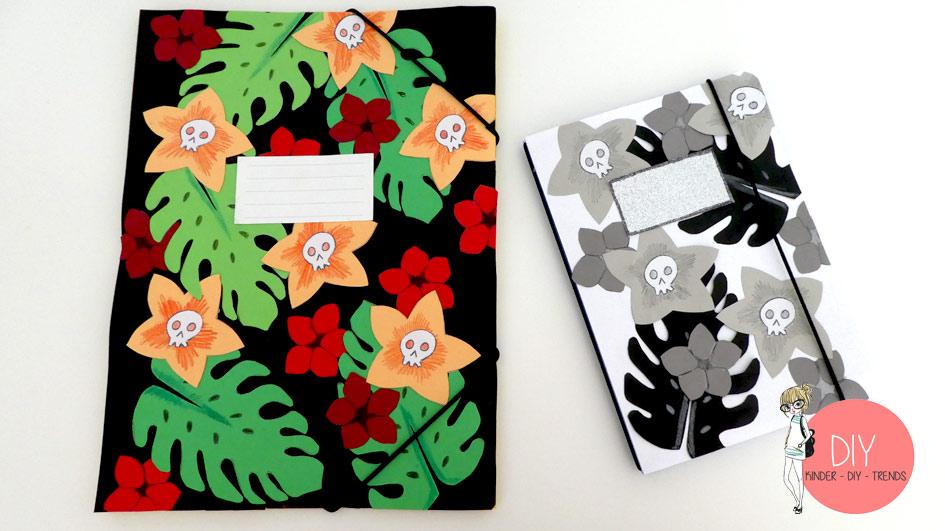 Hausaufgabenheft und Postmappe Upcycling mit Karibik Style
