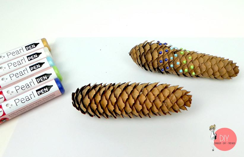 Material für die Bastelidee mit Naturmaterialien: Tannenzapfen und Pearl Pen Stift