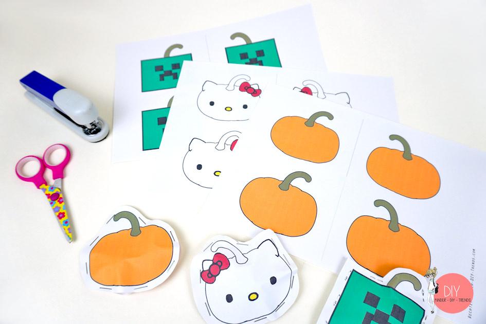 Gratis Vorlage Minecraft Creeper Kürbis, Hello Kitty Kürbis und Halloween Kürbis für eine Mitgebseltüte