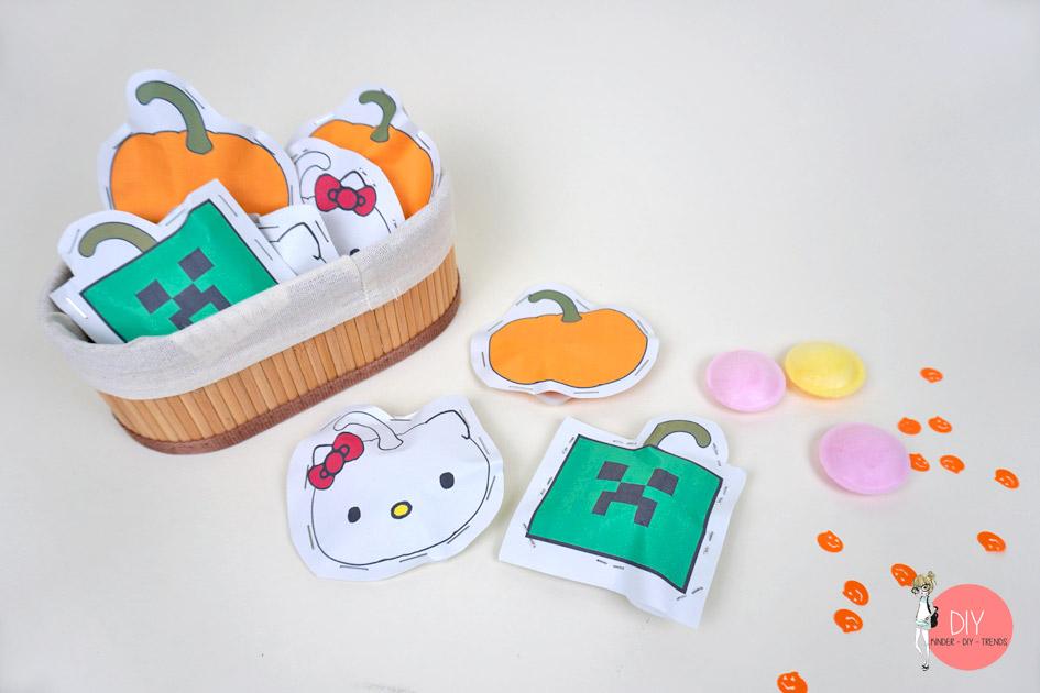 Mitgebseltüten aus Papier mit Vorlage basteln für Halloween oder Kindergeburtstag