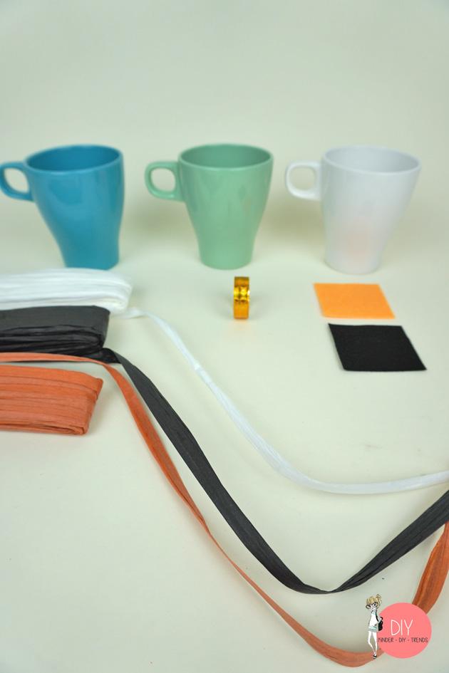 Material für eine weihnachtliche Bastelidee mit IKEA Tassen
