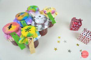 Marmelade verschenken - Etikett und Stoffdeckel selber machen und bemalen