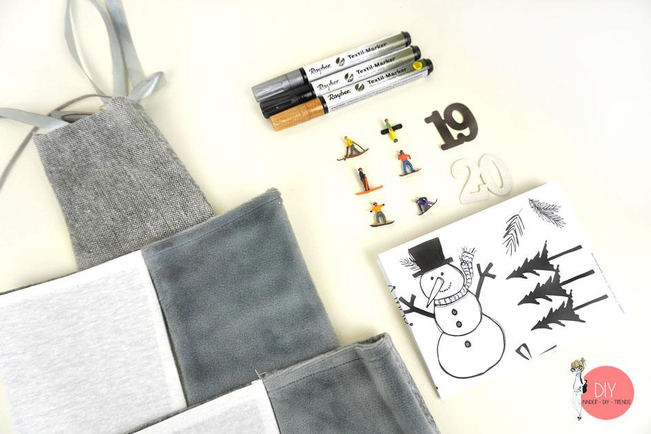Material für den DIY Adventskalender mit Stofftaschen
