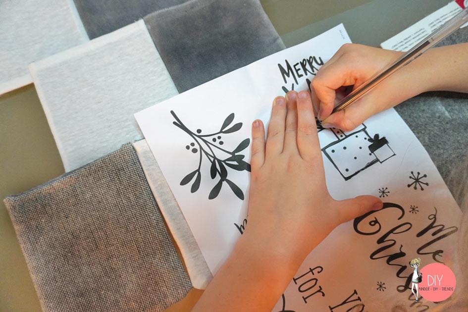 Lettering Motive und Weihnachtsmotive auf den Stoff übertragen