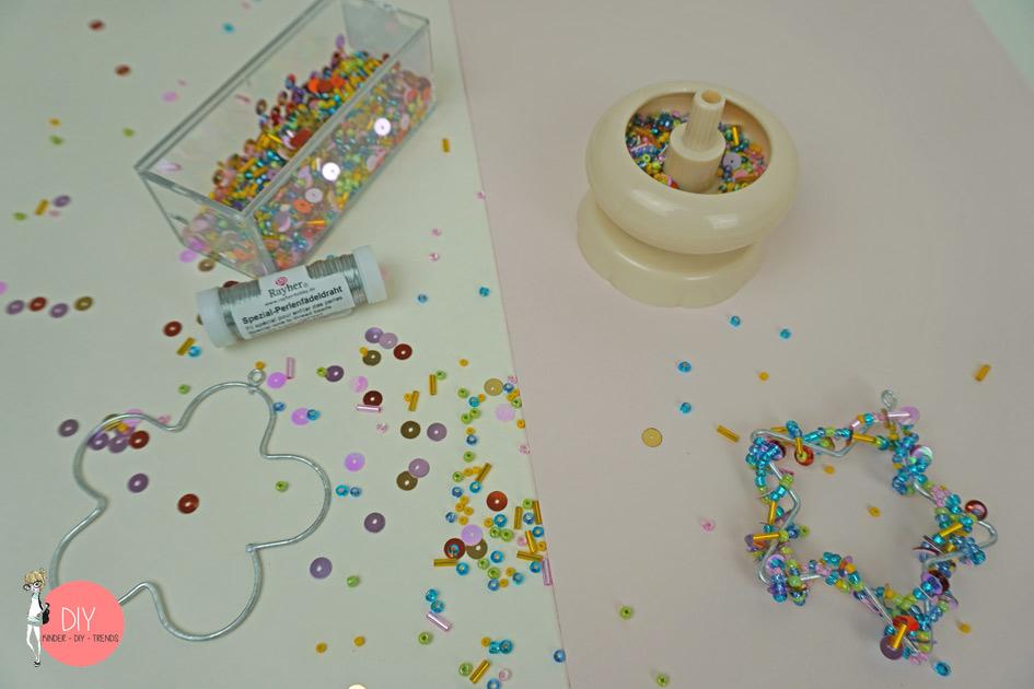 Material für Perlenanhänger basteln mit Perlenmühle