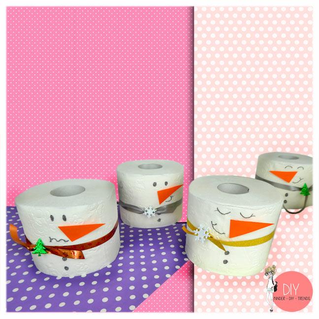 Einfache Bastelidee mit Toilettenpapierrollen für Kinder: DIY Schneemann