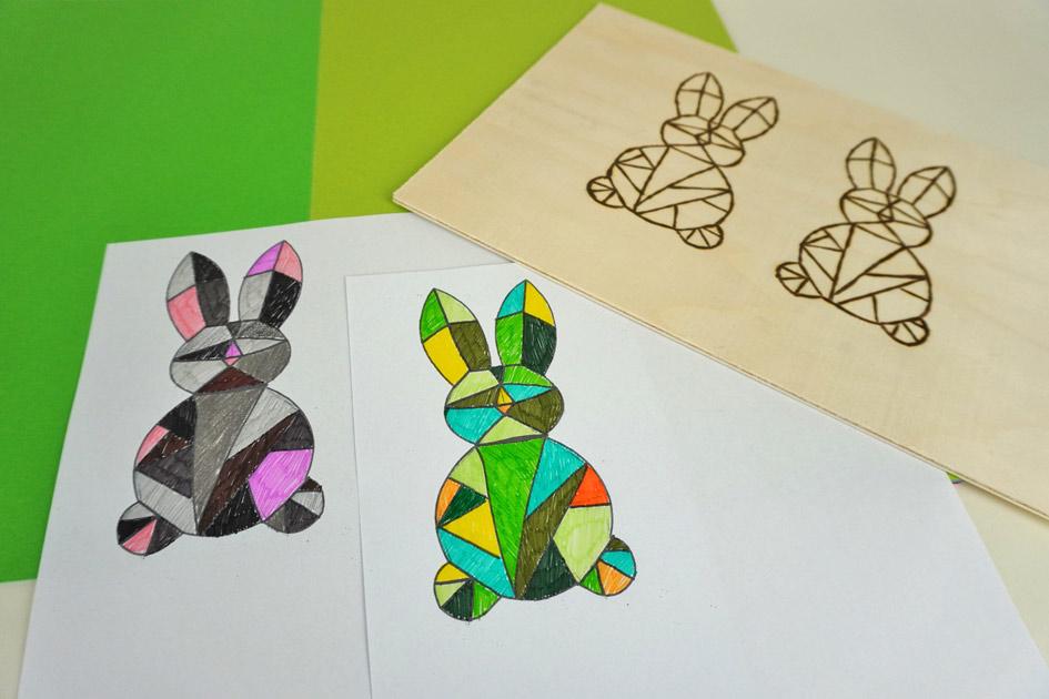 Bastelidee für Ostern: Geometrischer Osterhase malen und Brandmalerei