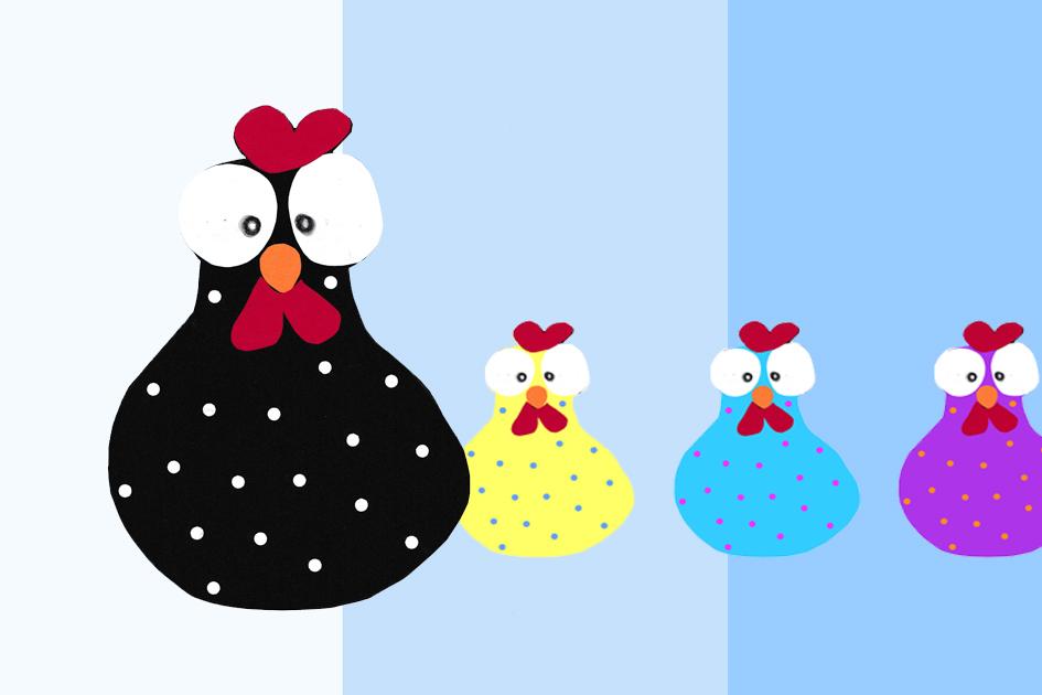 Bastelidee für Kinder - buntes Huhn aus Papier