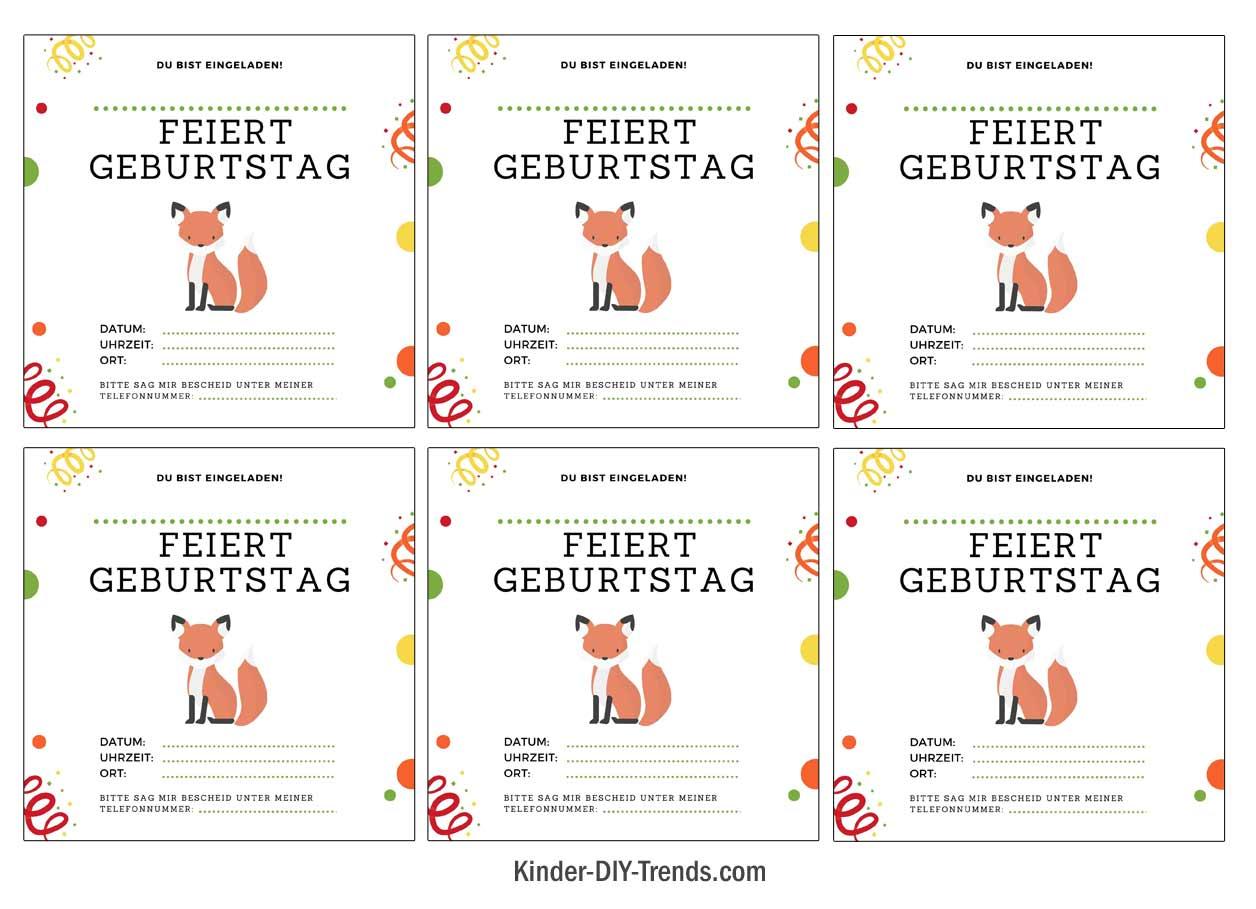 Fuchs Kindergeburtstag Einladung zum Ausdrucken gratis Vorlage
