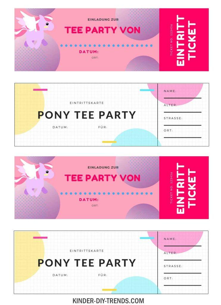 Freebie Pony Geburtstag Einladung Ticket Teeparty