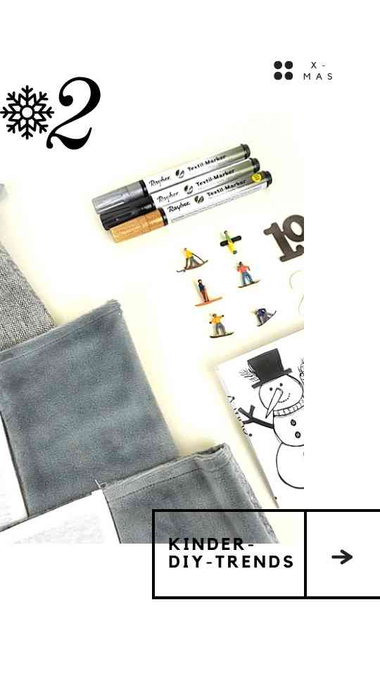 Adventskalender aus Stoff mit Lettering und kleinen Figuren bemalen