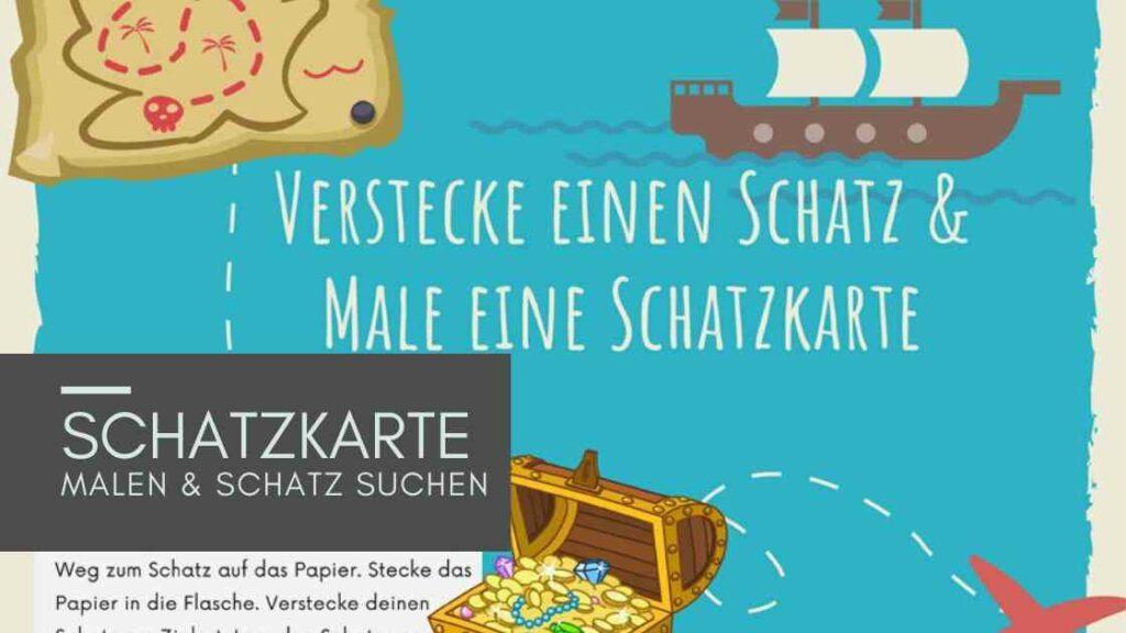 Sommerferien Idee für Kinder: Schatzkarte malen, Ferientagebuch