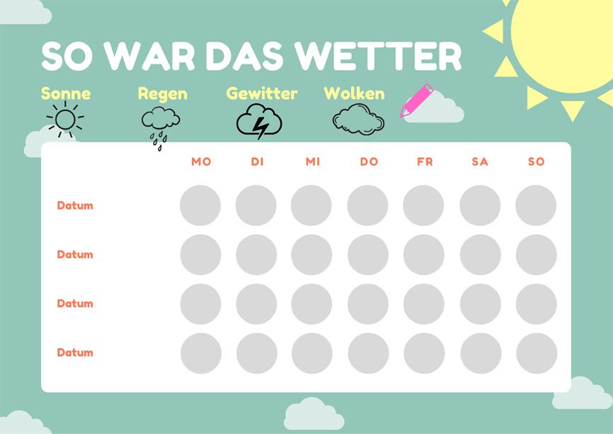 Sommerferien - mein kreatives Tagebuch: Beschäftigung Wetterkarte, Wetter beobachten