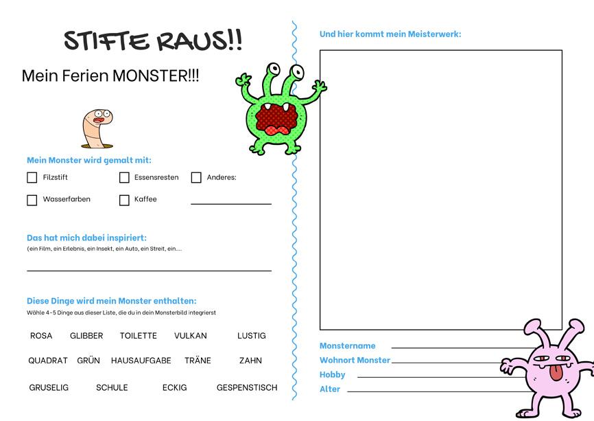 Sommerferien - mein kreatives Tagebuch: Beschäftigung Monster zeichnen
