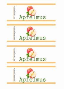 Gratis Etikett Apfelmus Design modern Vorratsglas