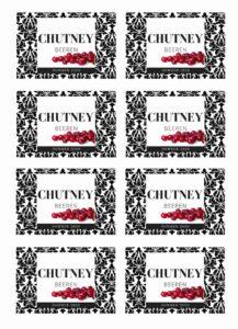 Gratis Etikett Chutney Design modern Vorratsglas
