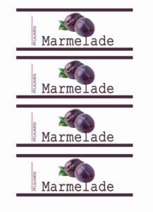Gratis Etikett Pflaumen Marmelade Design modern Vorratsglas