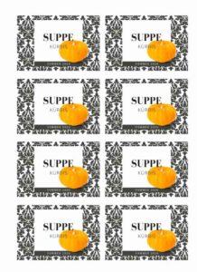 Gratis Etikett Suppe Kürbis Design modern Vorratsglas
