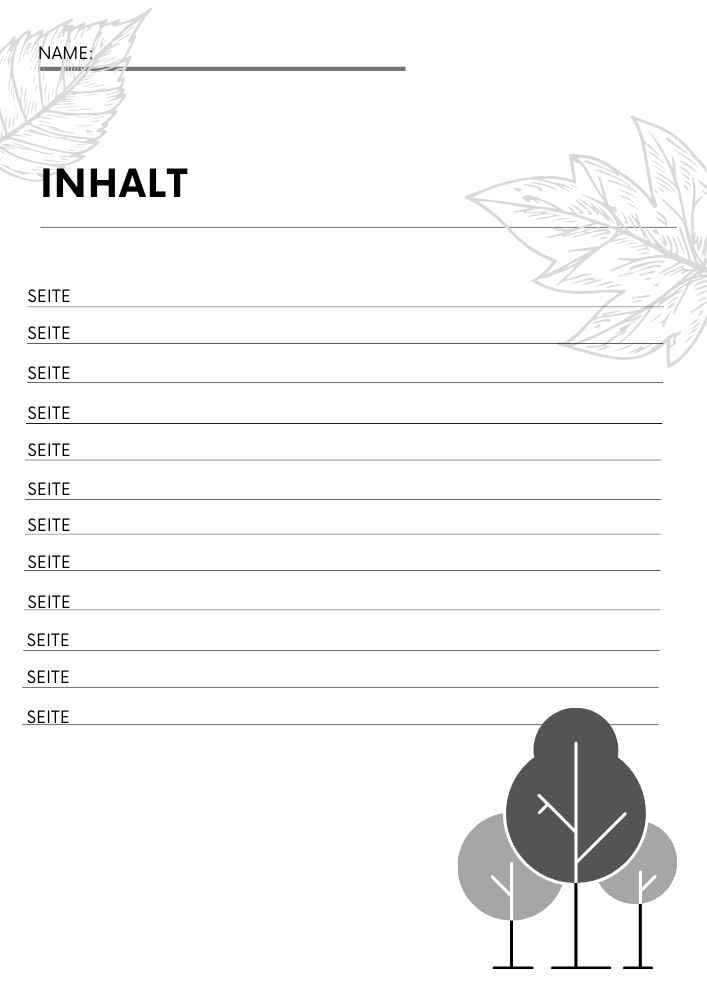 Herbarium Inhaltsverzeichnis anlegen. Gratis Vorlage zum Download
