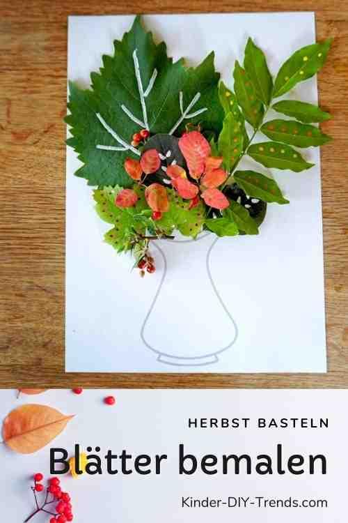 Blumenstrauß aus bemalten Blättern basteln