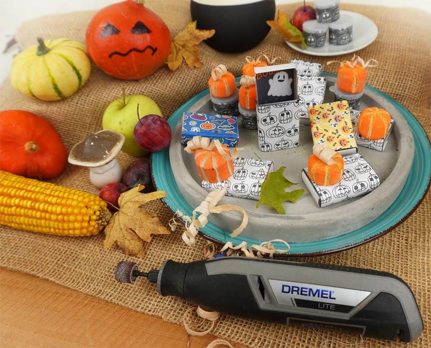 Holz Kürbis schnitzen und fräsen mit Dremel Lite. Halloween Geschenke süßes oder saures Mitgebsel selber machen mit Vorlagen.