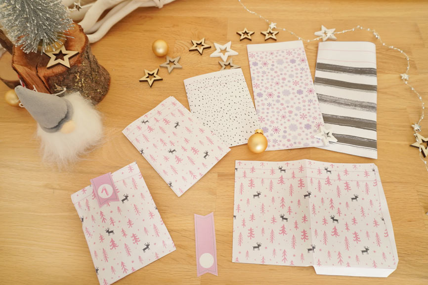Adventskalender selber basteln - Vorlage & Geschenkideen mit MIFUS & Rofu Kinderland: gratis Papiertaschen ausdrucken & basteln