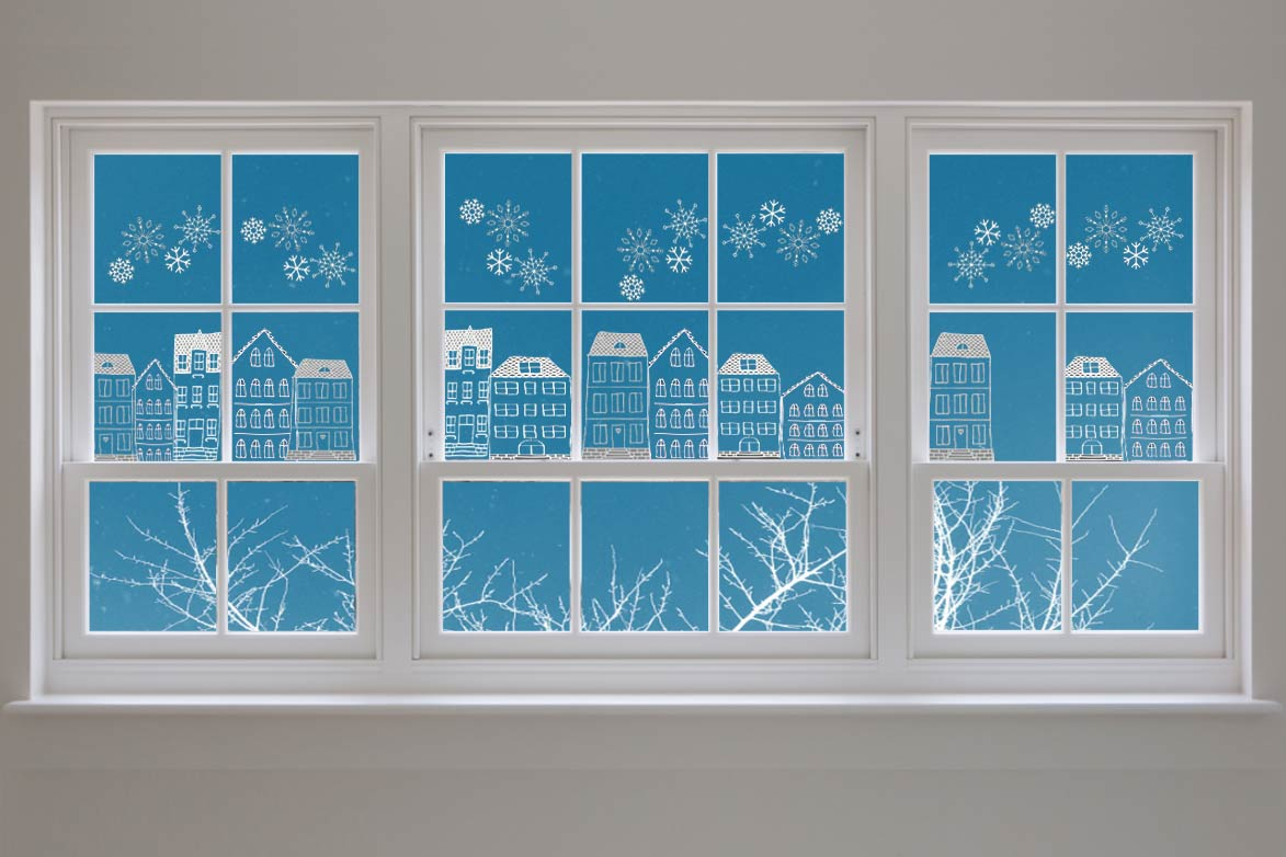 Vorlagen Fensterbild Kreidemarker Kreidestift Öltrick Häuser Winter Schneeflocken