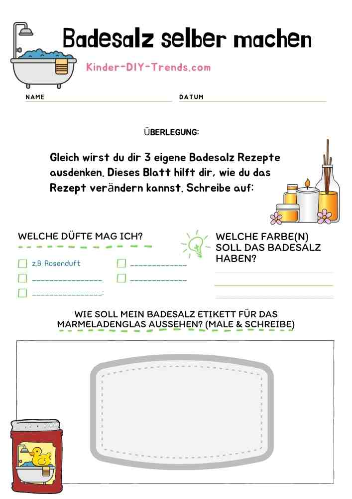Mein Badesalz Rezeptbuch zum selbst gestalten - eigenes Badesalz herstellen