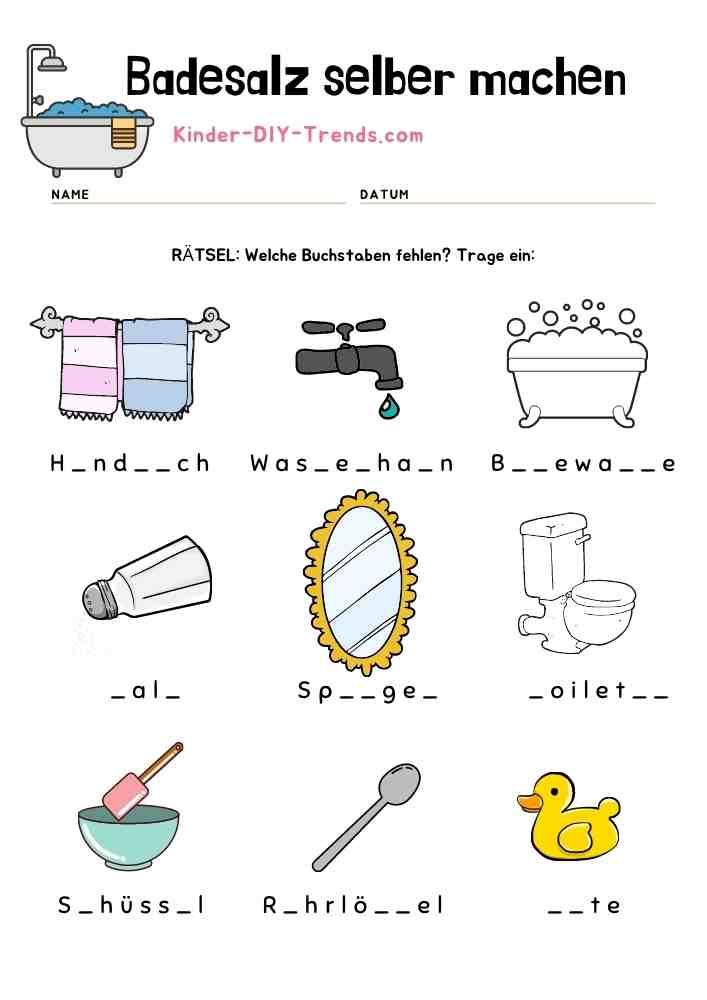 Mein Badesalz Rezeptbuch zum selbst gestalten - Buchstabenrätsel
