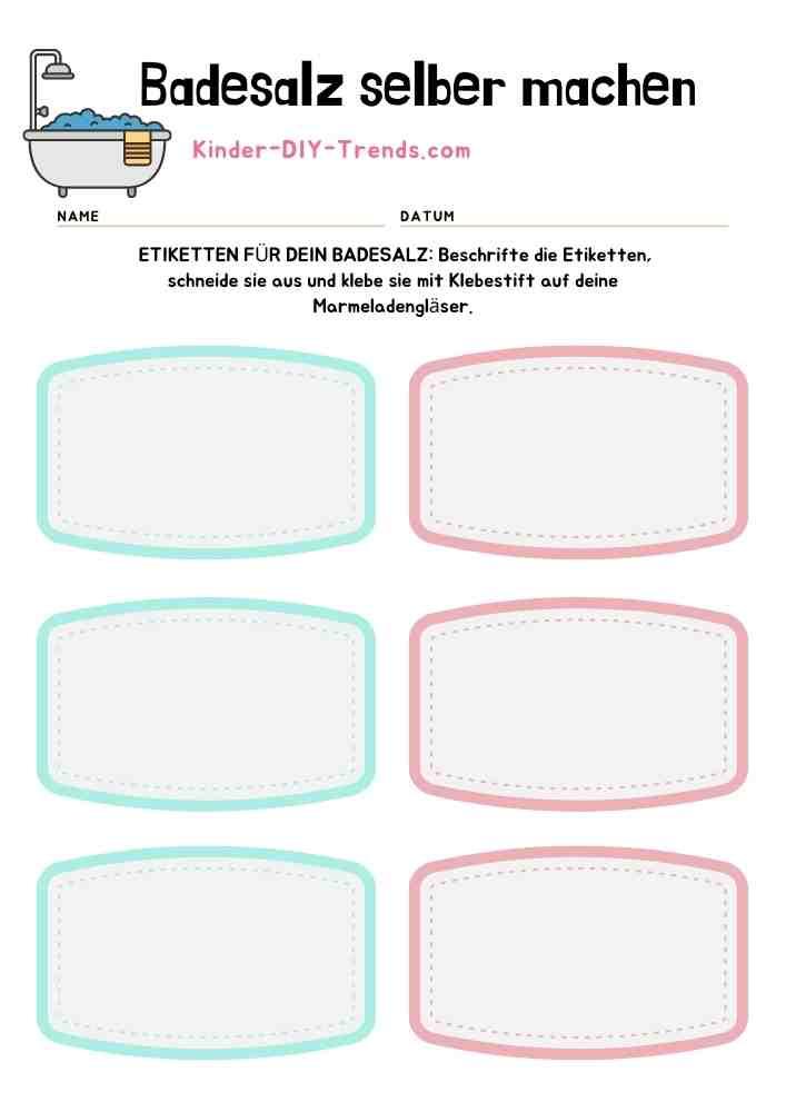 Mein Badesalz Rezeptbuch zum selbst gestalten - Badesalz Etiketten Vorlage ausdrucken