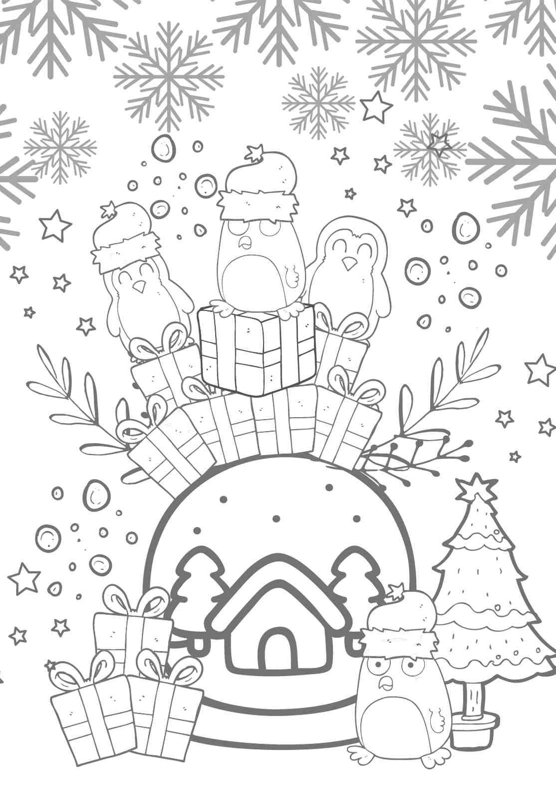 Vorlage Fensterbild Kreidestift Pinguin Winterlandschaft Schneekugel