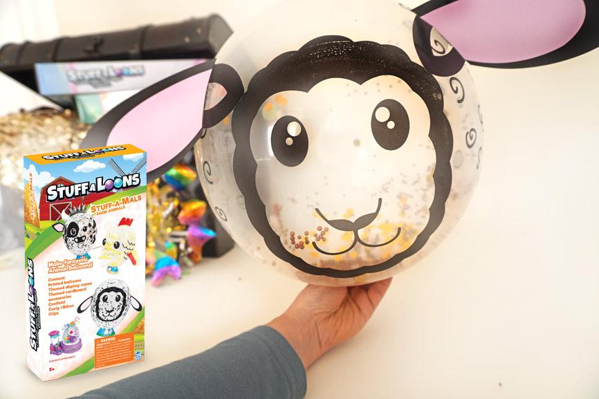 Stuff-A-Mals Geschenk im Luftballon - Nerf Kindergeburtstag Geschenk Farmtiere Schaf