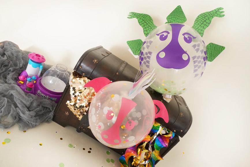 Stuff-A-Mals Geschenk im Luftballon - Nerf Kindergeburtstag Geschenk, Geburtstags Deko Drachen Schatz