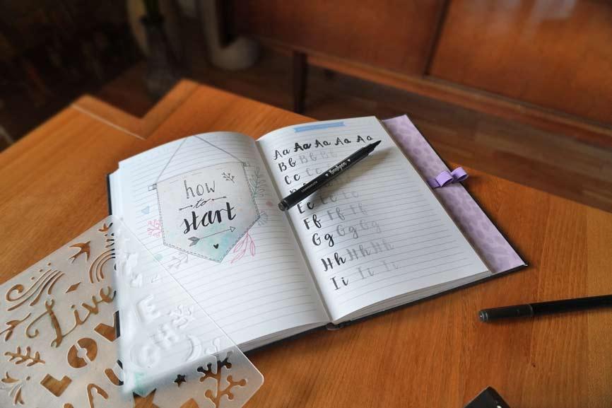 Bullet Journal Tagebuch mit Handlettering Vorlage für Kinder und Teens