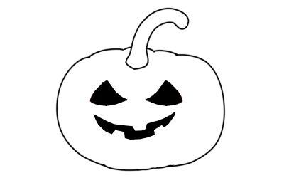 Ausmalbild Halloween Kürbis Monster gratis Vorlage zum Ausdrucken