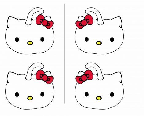 Gratis Vorlage Halloween Hello Kitty Kürbis Mitgebseltasche zum selber machen