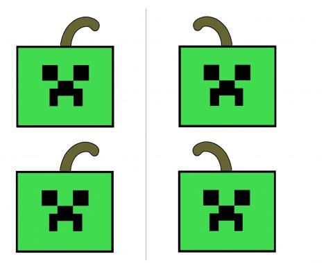 Gratis Vorlage Halloween Minecraft Creeper Kürbis Mitgebseltasche zum selber machen