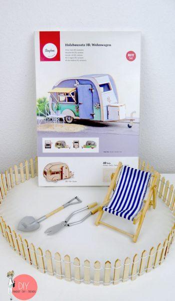 Gewinnspiel Verlosung Rayher 3D Holzbausatz Wohnwagen für Miniaturlandschaft und Deko
