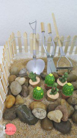 Kaktus Garten Zen mit Deko Kakteen