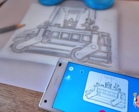 Fortnite zeichnen - zuerst fotografieren mit App, dann auf den Projektor Smart Sketcher schicken, dann abzeichnen