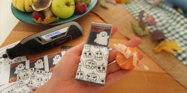 Holz Kürbis schnitzen und fräsen mit Dremel Lite. Halloween Geschenke süßes oder saures Mitgebsel selber machen mit Vorlagen gratis