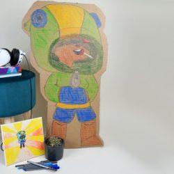 DIY Aufsteller Leon von Brawl Stars Vorlage und selber malen