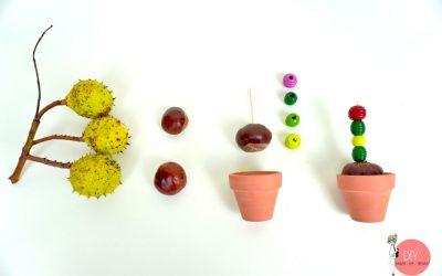 Anleitung Basteln mit Kastanien: DIY Kastanien Kaktus