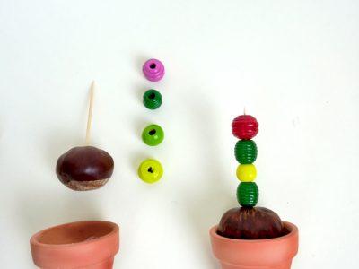 Anleitung für Bastelidee DIY Kaktus aus Kastanien