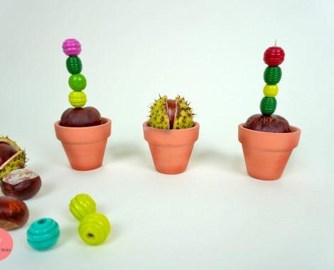 Kaktus aus Kastanien basteln mit Kindern - Herbst Dekoration