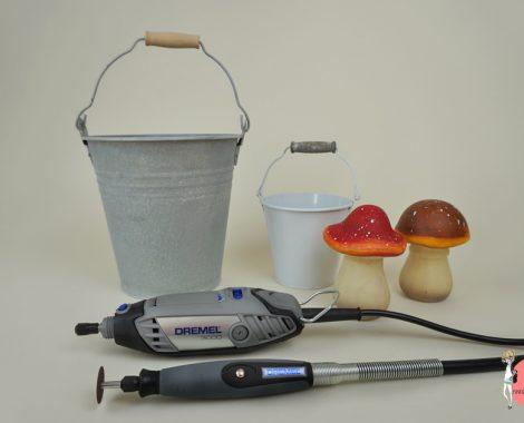 Material für das DIY Dekolicht aus einem Metalleimer
