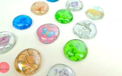 Schöne Glassteine Cabochons DIY für Kinder - Bastelidee